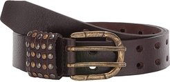 All Over Perf w/ Studded Loops Belt (Brown) Women's Belts