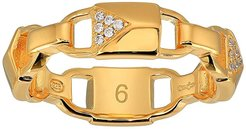 Precious Metal-Plated Sterling Silver Pave Mercer Link Ring (Gold) Ring