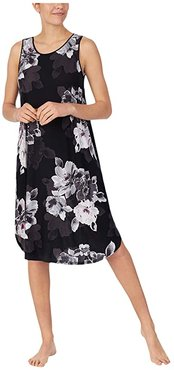 Modal Spandex Jersey 40 Sleeveless Gown (Black Large Floral) Women's Pajama