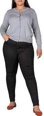 Plus Size Valentina Pull-On High-Rise Skinny Fit Jeans (Forever Black) Women's Jeans