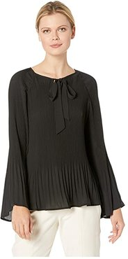 Ivanna Pleated Tie Neck Top (Black) Women's Blouse