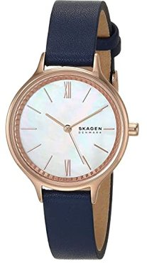 Anita Three-Hand Watch (SKW2864 Rose Gold Blue Leather) Analog Watches