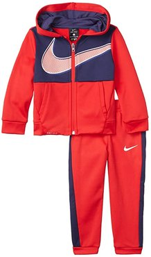 Therma-FITtm Color-Block Full Zip Hoodie and Jogger Pants Two-Piece Set (Toddler) (University Red) Boy's Active Sets