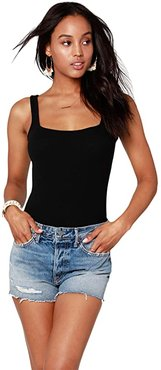 Square Neck Ribbed Bodysuit (Black) Women's Jumpsuit & Rompers One Piece