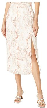 Fairfax 'Spring Snake' Soft Satin Midi Skirt (Soft Beige) Women's Skirt