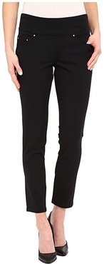 Amelia Pull-On Slim Ankle Pants in Bay Twill (Black) Women's Casual Pants