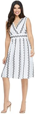 Eyelet Fit-and-Flare (White/Navy/Blue) Women's Dress