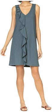 Ruffle Front Shift Dress in Flame Modal Stretch (Slate) Women's Clothing