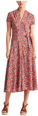 Floral Crepe Midi Dress (Red Multi) Women's Clothing