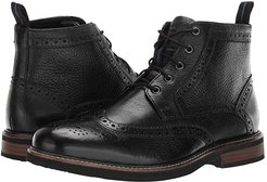 Odell Wingtip Boot with KORE Walking Comfort Technology (Black Tumbled) Men's Lace-up Boots