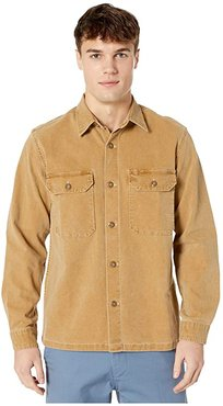 Wallace Barnes Stretch Duck Canvas Long Sleeve Work Shirt (Roasted Cidar) Men's Clothing