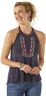 Halter Neck Top with Tassle Tie Back (Indian Ink) Women's Clothing