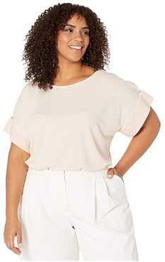 Plus Size Short Sleeve Top with Detail Sleeve (Blush) Women's Clothing