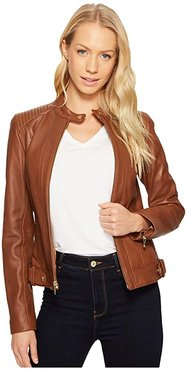 Leather Racer Jacket with Quilted Panels (Chestnut) Women's Jacket