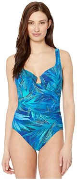 Best Fronds Forever Escape One-Piece (Blue) Women's Swimsuits One Piece