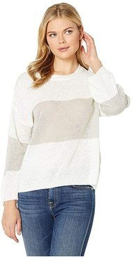 Hesper Sweater with Stripe (Off-White/Gray) Women's Clothing