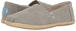Seasonal Classics (Drizzle Grey Washed Canvas Rope Sole) Women's Slip on  Shoes