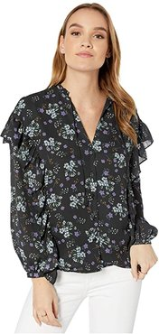 Delia 'Meadow Floral' Ruffle Detail Peasant Top (Night Sky) Women's Clothing