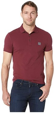 Short Sleeve Polo with Logo Patch (Red) Men's Short Sleeve Pullover
