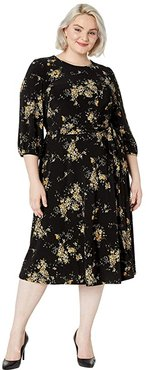 Plus Size Floral Fit-and-Flare Dress (Black/Gold Ochre/Multi) Women's Clothing
