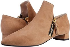 Loafer Bootie With Zippers (Caramel) Women's Shoes