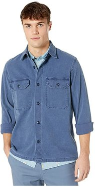 Wallace Barnes Stretch Duck Canvas Long Sleeve Work Shirt (French Blue) Men's Clothing