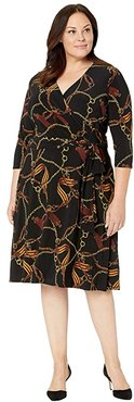Plus Size Print Fit-and-Flare Dress (Black/Gold/Multi) Women's Clothing