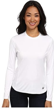 Peach Solid Crewneck (White) Women's Long Sleeve Pullover