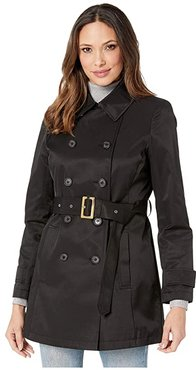 Short Double Breasted Trench (Black) Women's Coat