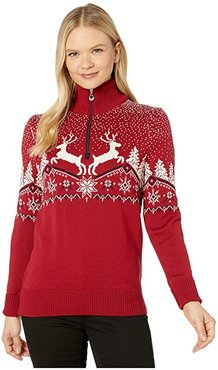 Christmas Feminine Sweater (Red Rose/Off-White/Navy) Women's Clothing