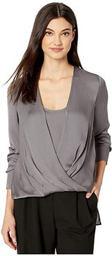 Wrap Long Sleeve Woven Top (Graphite) Women's Clothing
