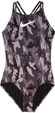 Camo Spiderback One-Piece (Little Kids/Big Kids) (Black) Girl's Swimsuits One Piece