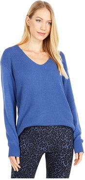 Easy V-Neck Modal Sweater with Side Seam Detail (Indigo) Women's Sweater