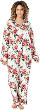 Plus Size Long Sleeve Classic Notch Collar Pajama Set (Room To Bloom) Women's Pajama Sets