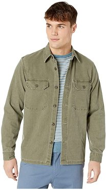 Wallace Barnes Stretch Duck Canvas Long Sleeve Work Shirt (Desert Olive) Men's Clothing