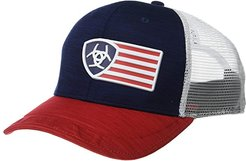 Ariat Rubberized Flag Logo Snapback Cap (Navy/Red/White) Caps