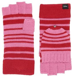 Striped Pop Top Fingerless Gloves (Cherry Red) Extreme Cold Weather Gloves