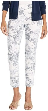 Fly Front Floral Pant w/ Center Crease (Chambray/White) Women's Clothing