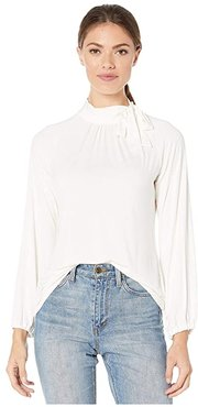 Tie Neck Jersey Top (Pale Cream) Women's Blouse