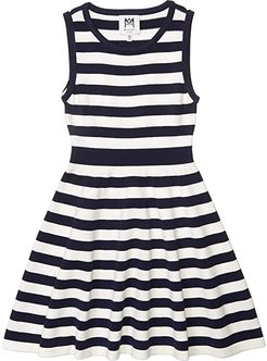 Striped Fit-and-Flare Dress (Big Kids) (Navy/White) Girl's Dress