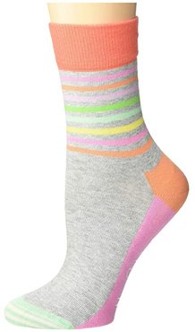Half Stripe 1/2 Crew Sock (Light Pastel Grey) Women's Crew Cut Socks Shoes