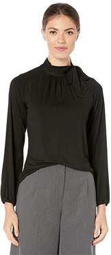 Tie Neck Jersey Top (Polo Black) Women's Blouse