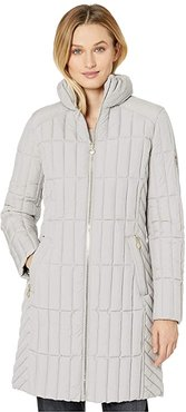 Quilted Channel Walker with Knit Collar (Opal Grey) Women's Jacket