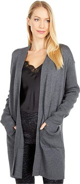 Open Cardigan with Rib Sleeve and Pocket Detail (Heather Grey) Women's Sweater