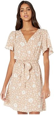 Natalia Short Sleeve Floral Wrap Dress (Taupe/White) Women's Dress