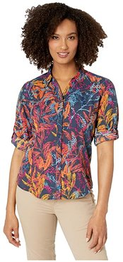 Expedition Print 3/4 Sleeve Shirt (Navy) Women's Long Sleeve Button Up