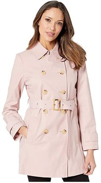 Short Double Breasted Trench (Blush) Women's Coat