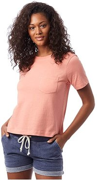 Heavy Wash Cropped Pocket Tee (Sunset Coral) Women's T Shirt