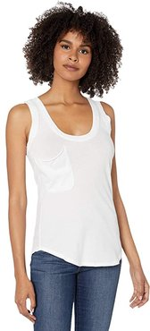 Rounded Hem Pocket Tank Top in Lightweight Jersey (White) Women's Clothing