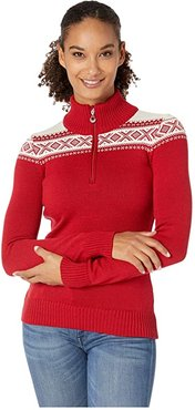 Cortina Merino Feminine Sweater (Raspberry/White) Women's Clothing